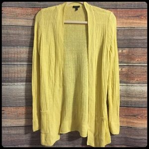 Talbots yellow linen open front cardigan